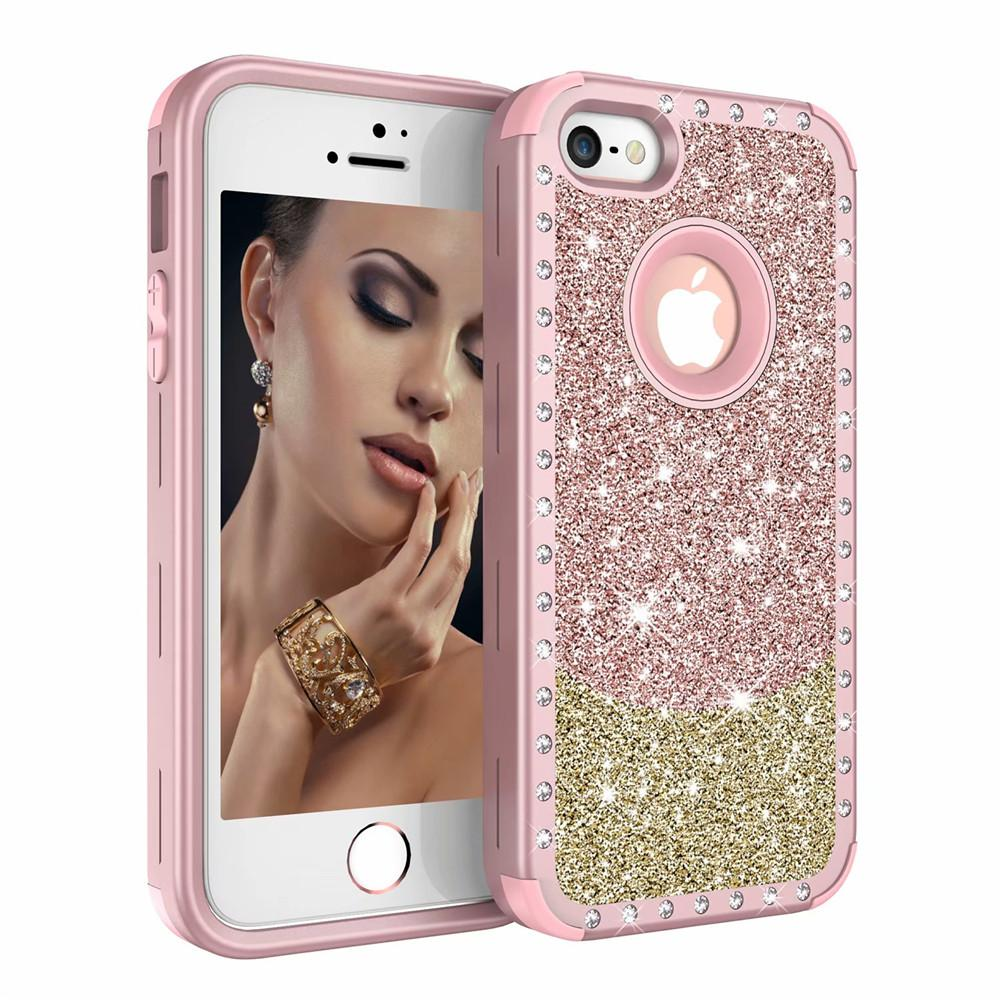 For Iphone SE Case Luxury Diamond Women Cover Heavy Duty Hybrid Full-Body  Protective Cover Defender Case For iPhone 5S SE 731b2f6723