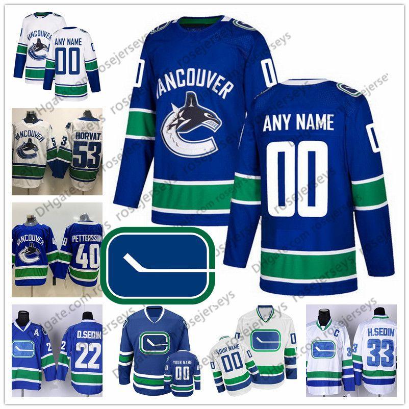 1ebea15a607 2019 Custom Vancouver Canucks Blue White Third Jersey Any Number Name Men  Women Youth Kid Eriksson Edler Goldobin Linden Pettersson Boeser Horvat  From ...
