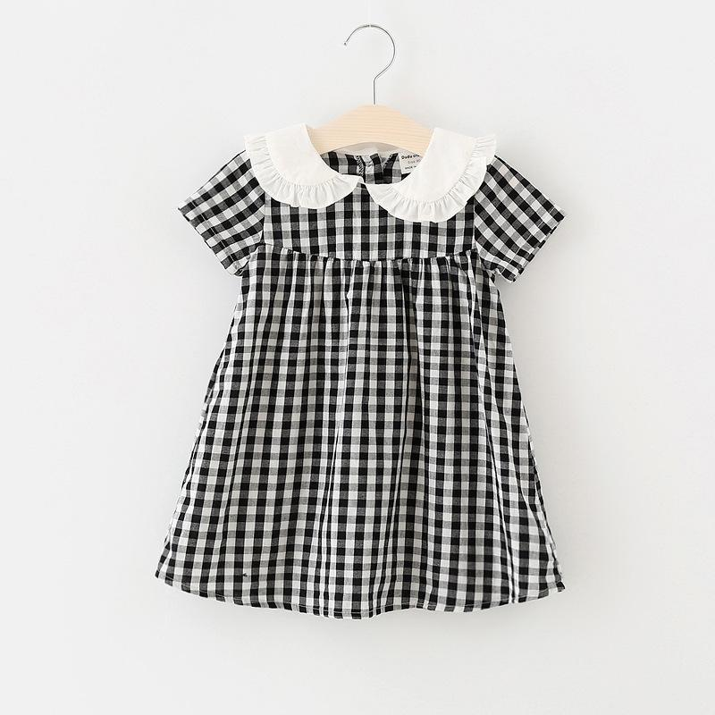 4d1ce7aab5e69 Fashionable Cotton Dress Baby Girl Summer 2019 New Design Plaid Dress Sweet  Peter Pan Collar Lovely Ruffles Princess Dresses