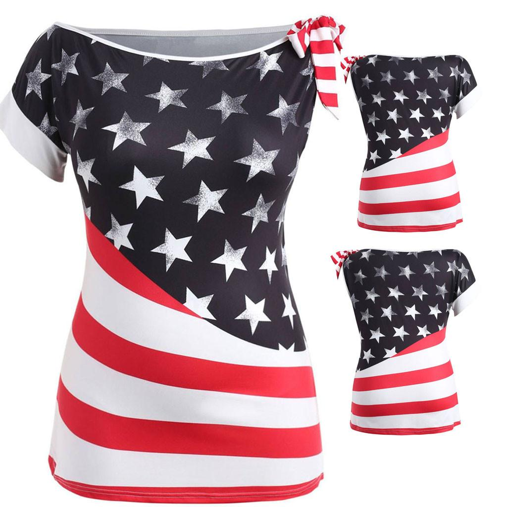 f1b55bd8fb feitong 2019 summer sexy style tops Plus Size Fashion Women O-Neck American  Flag Printed T-Shirt Short Sleeve Slim Fitting