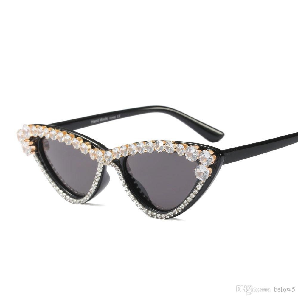 87490fbafd5c 2019 New Fashion Black Diamond Sunglasses Women Designer Brand Cat ...