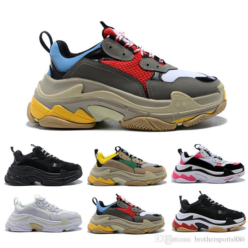 buy online 07436 24742 Fashion designer Paris 17FW Triple-s Sneakers for men women black red white  green pink Casual Dad Shoes tennis increasing shoe size 36-45