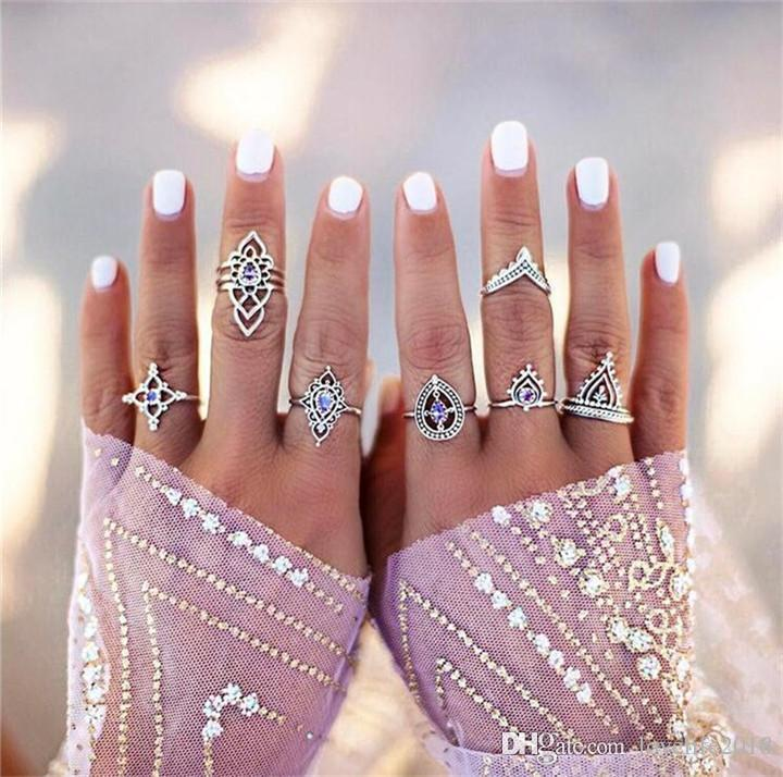 Vintage Purple Crystal Hollow Flower Midi Finger Rings Set 7PC Mix Style Antique Silver Knuckle Fashion Stacking Ring Haldway Fine Jewelry
