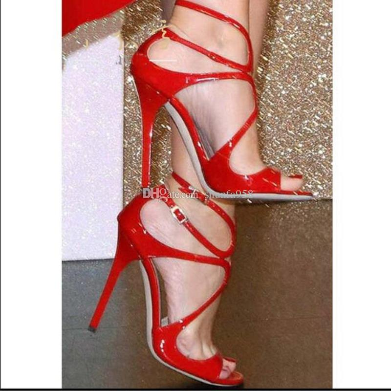 e9020e8e449 Summer Wedding Dress Party LANG Sexy Women Pumps ankle strap perfect Ladies  Stiletto High Heels Luxury Design Gladiator Sandals 10cm Heel