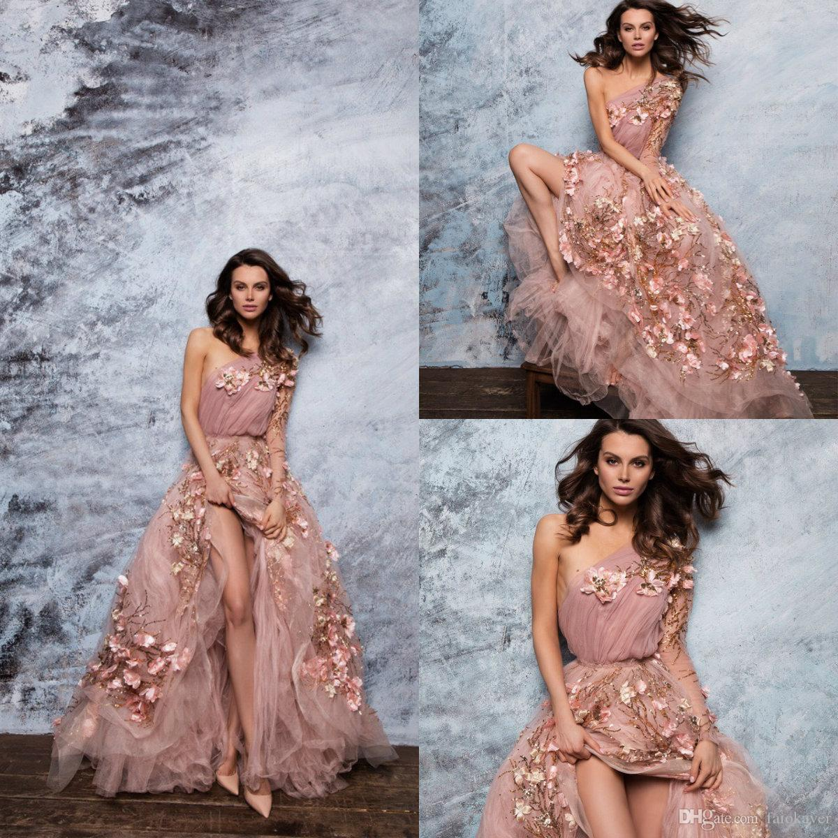 59ef1f9fcd5a 2019 Paolo Sebastian Prom Dresses One Shoulder A Line Lace 3D Floral Long  Sleeve Evening Dress Sweep Train Custom Made Formal Party Gowns Websites  For Prom ...