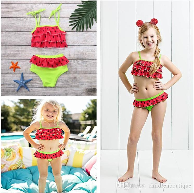 cb207c3ced289 2019 Newest Kids Swimwear Baby Girl Belted Swimsuit Children Girls  Watermelon Red Summer Swimwear Bathing Suit Costume Beachwear From  Childrenboutique, ...