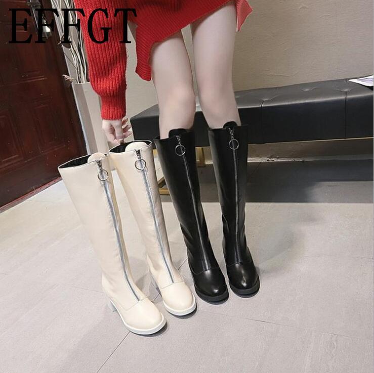 007c1250 Compre EFFGT Zapatos De Mujer Frente De Cuero Con Cremallera Rodilla Botas  De Caballero De Marca Diseñador De Tacón Medio Invierno Botas Largas Moda  Martin ...