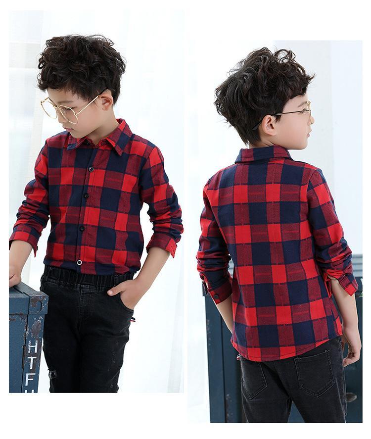 72866bcc8932 Compre Ropa Para Niños Camisa De Niño 2019 Primavera / Otoño Nuevo Estilo  Moda Camisa A Cuadros Niños Casual Camisa De Solapa De Manga Larga Roja A  $32.65 ...