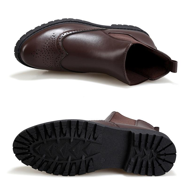 38298c6b Black Brogue Chelsea Boots Mens Shoes Ankle Boots Men Footwear Artificial  Leather Chelsea Boots For Men Autumn Shoes