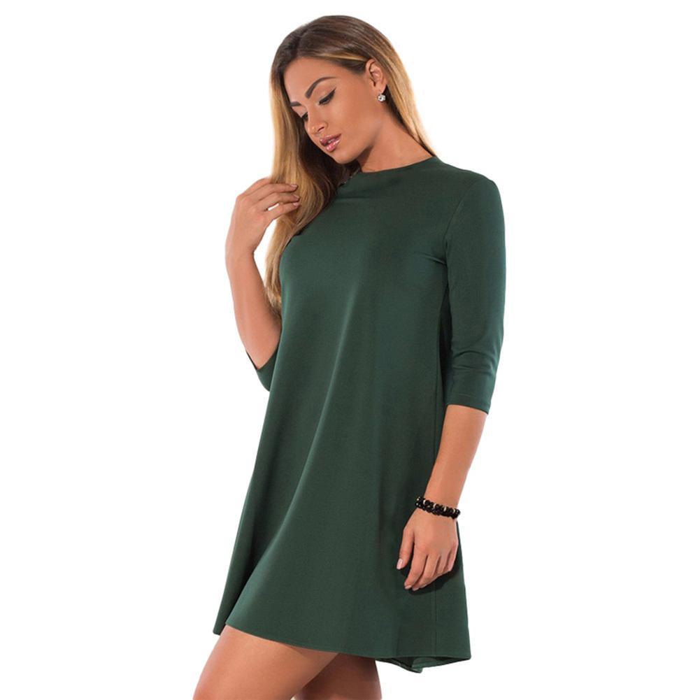 aa6d2145332d Vestido sexy sólido ocasional de las mujeres 6XL O Cuello Mangas 3/4 Mini  Vestido A-Line Party Clubwear Azul / Verde XXXL 4XL 5XL Vestido de talla ...