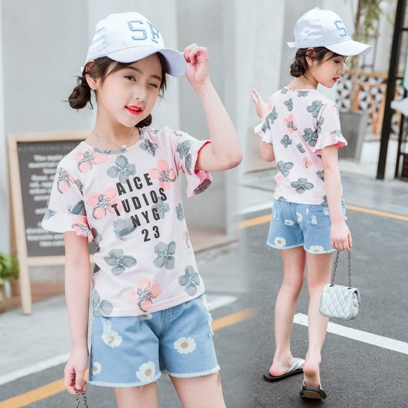 a2a0330b91f 2019 Teen Girls Clothing Set Two Piece Summer Outfit For Girls 12 Years  Toddler Kids Flower T Shirts +Short Jeans Little Girl Clothes From  Usefully14