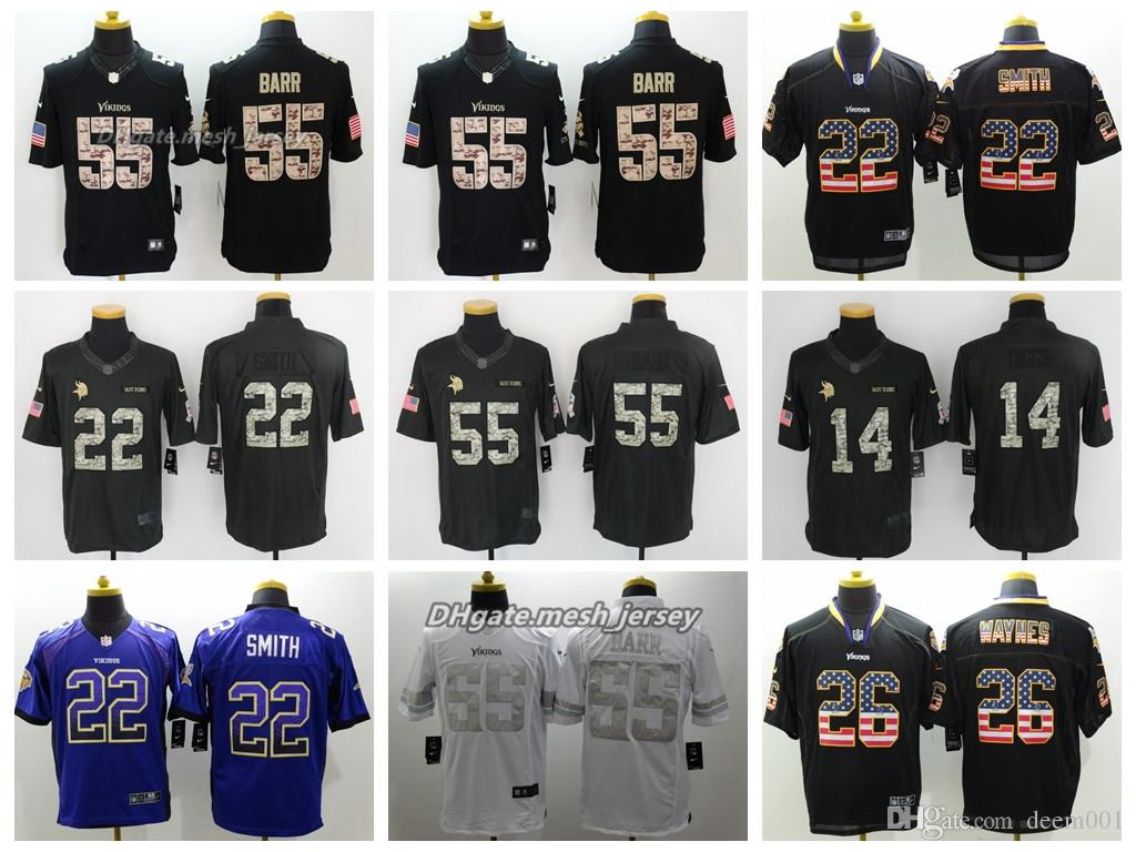 separation shoes 63bde a1282 Men Minnesota Jersey Vikings 55 Anthony Barr 22 Harrison Smith 14 Stefon  Diggs 26 Trae Waynes Color Rush Football Stitching Jerseys