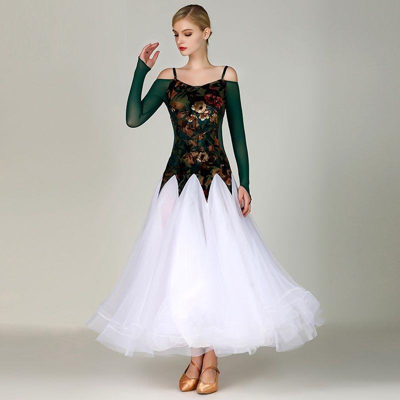 da154f1988a Acheter 2019 Robe De Danse Standard Dress Robes Costume De Danse Moderne  Costumes Lumineux Robe De Bal Valse Costumes De Rumba Vêtements De Danse De   74.38 ...