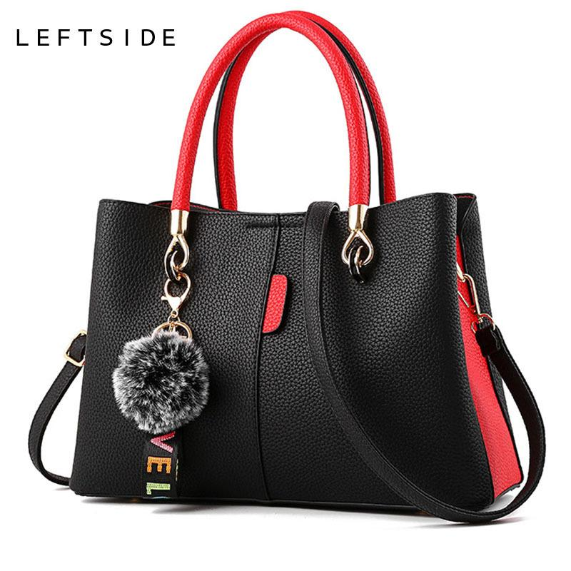 Leftside Women Bag 2018 Women's Leather Handbags Luxury Lady Hand Bags With Hair Ball Pendant Female Messenger Bag Big Tote J190426