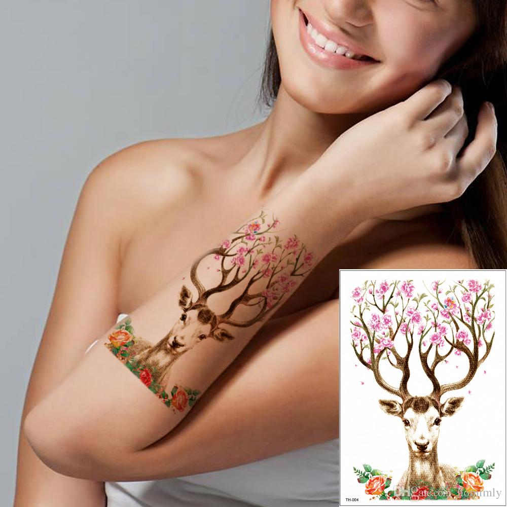 36da1da2d8670 Deer Temporary Tattoo Sticker Waterproof Cartoon Animal Elk Pink Flower  Tattoo Designs Fake Decal For Women Men Kids Beauty Cute Gift TH 004  Temporary ...