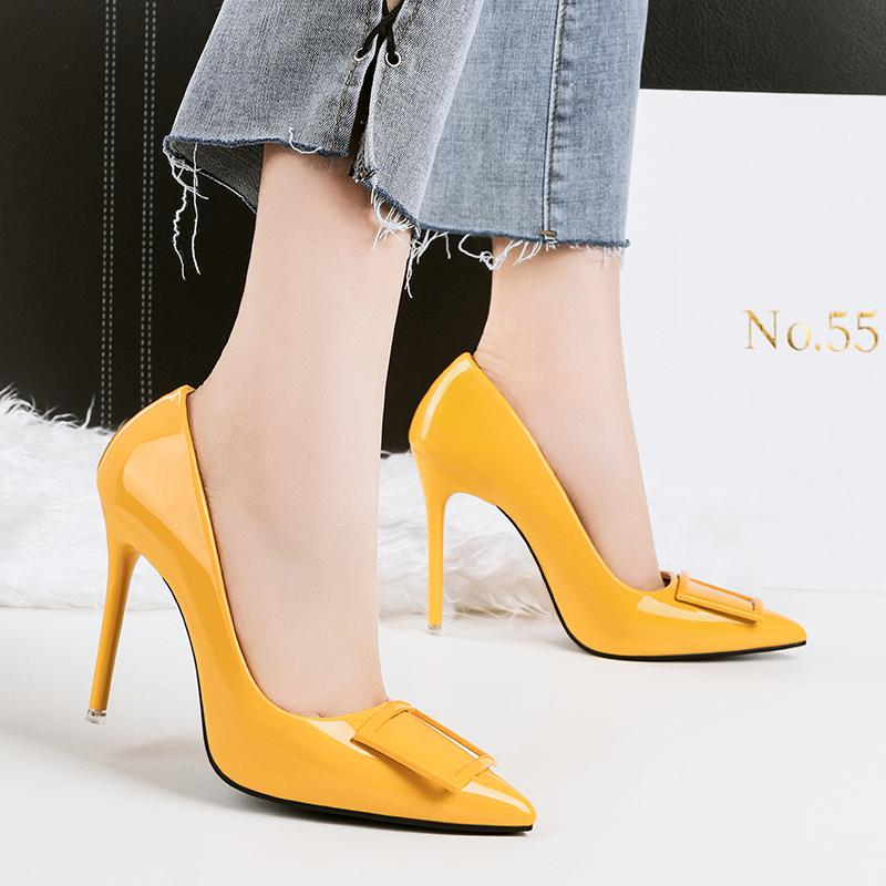 d4db175889c4 2018 Women Sexy Fetish High Heel Pumps Yellow Heels Scarpin Female Party  Prom Shoes Elegant Office Lady Dress Leather Shoes Nude Shoes Womens  Sandals From ...