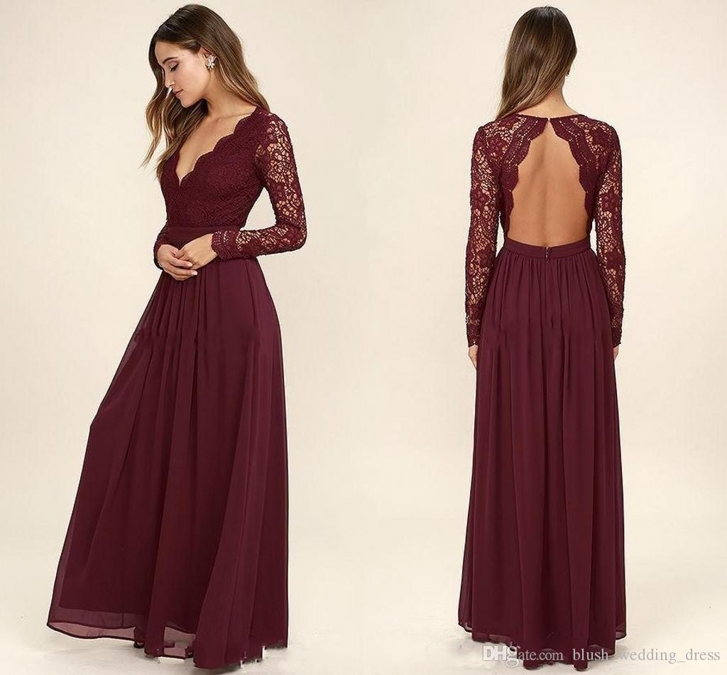 7b9affb15d00 Fashion Burgundy Chiffon Bridesmaid Dresses Long Sleeves Country Style V  Neck Backless Long Beach Lace Top Wedding Prom Dresses Grecian Bridesmaid  Dresses ...