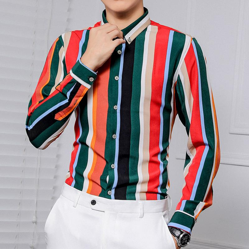 Striped Shirt Men's Korean Casual Slim Fit Long Sleeve Dress Shirts Streetwear Nightclub Party Male Clothing Hawaiian Shirt