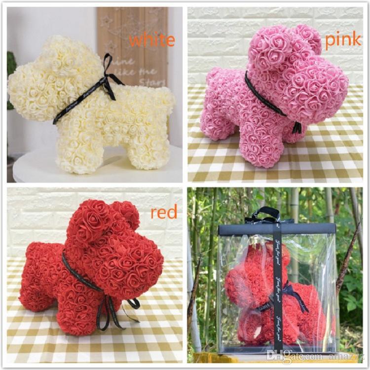 Heißer Verkauf Hund Rose Seifenschaum Blume künstliche Neujahrsgeschenke für Frauen Valentines Geschenk mit Kasten