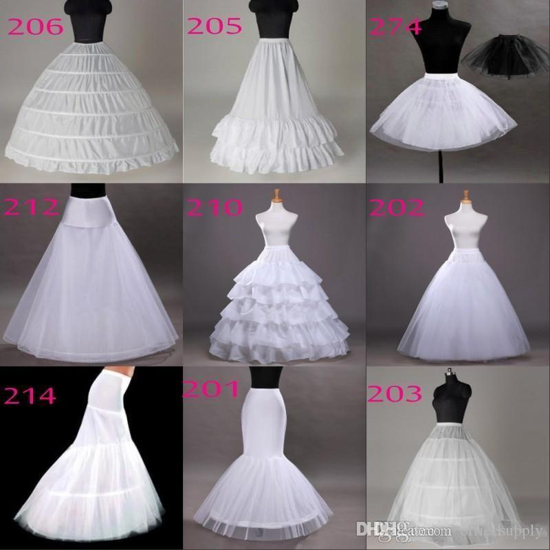 Tutu Petticoats 10 Styles White A Line Balll Gown Mermaid Wedding Party Dresses Underskirts Slips Petticoats With Hoop Hoopless Crinoline