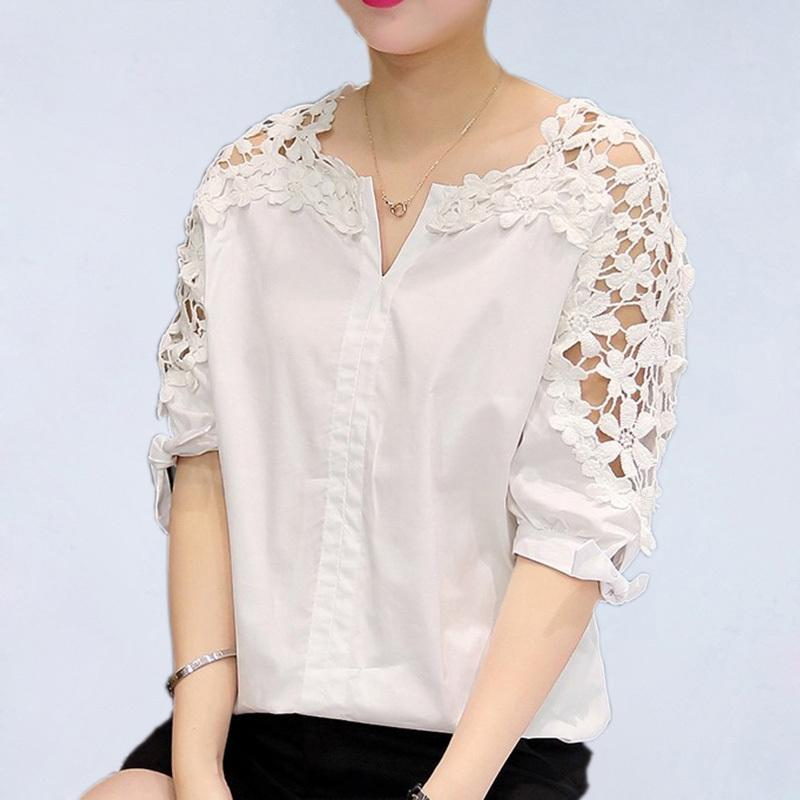 48327f39a34e6 2019 Summer Women Lace Blouses 2019 Fashion Woman Lace Shirt Hollow Out  Casual Short Sleeve Women Shirts Tops Plus Size Clothing 5XL From  Jincaile07, ...