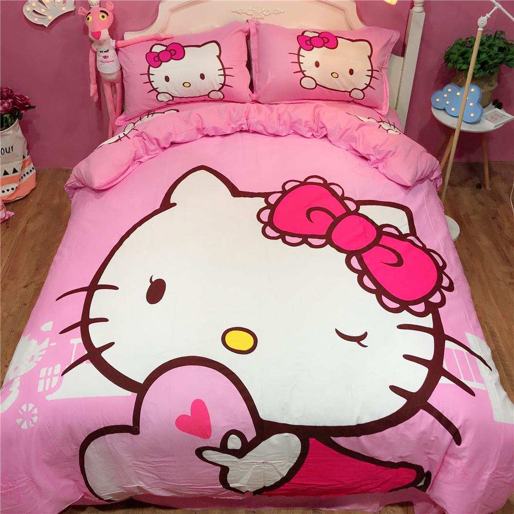 9330658ab Cartoon Hello Kitty Bedding Set Single Twin Queen /Bedding Set With  Pilloccase Bed Sheet Duvet Cover For Kids Room Bed Cheap White Duvet Cover  Luxury ...
