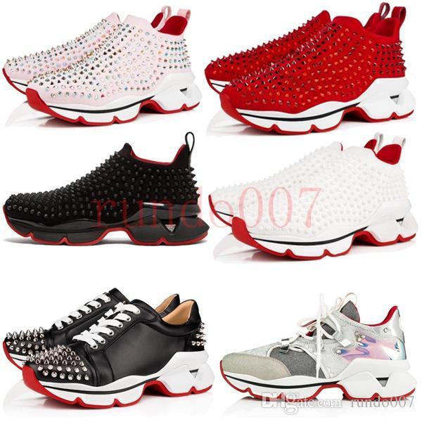 on sale 813ea 980dc New Designer Luxury for Mens Red Bottoms Shoes Christian Bottom Louboutin  Krystal Spike Sock Donna men Wave Runner women Sneakers Chaussures