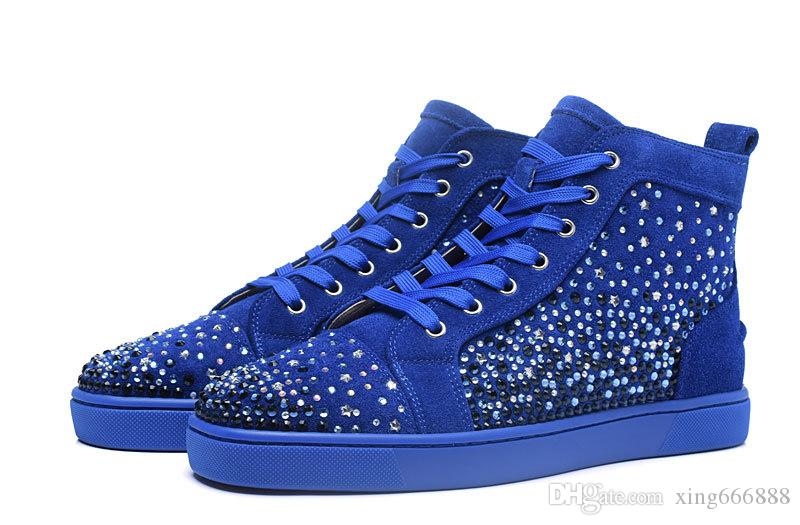 New arrival high quality men full stars and rhinestone casual shoes high top brand women flat shoes size36-46