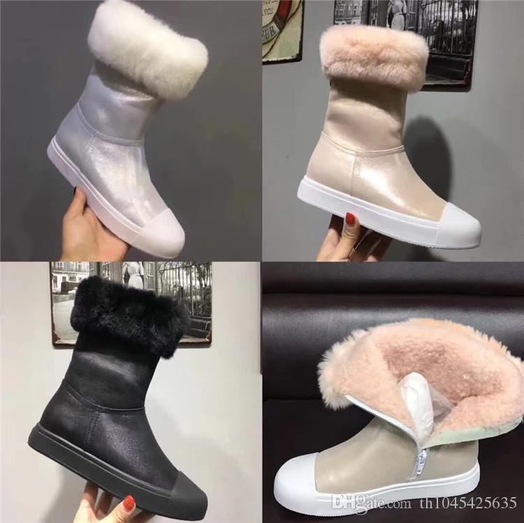 Warm Female Short Runway Knight Booties White Black Pink Fur Lining Snow Boots Winter Shoes Flat heel Ankle Leisure Warm Boot Mujers