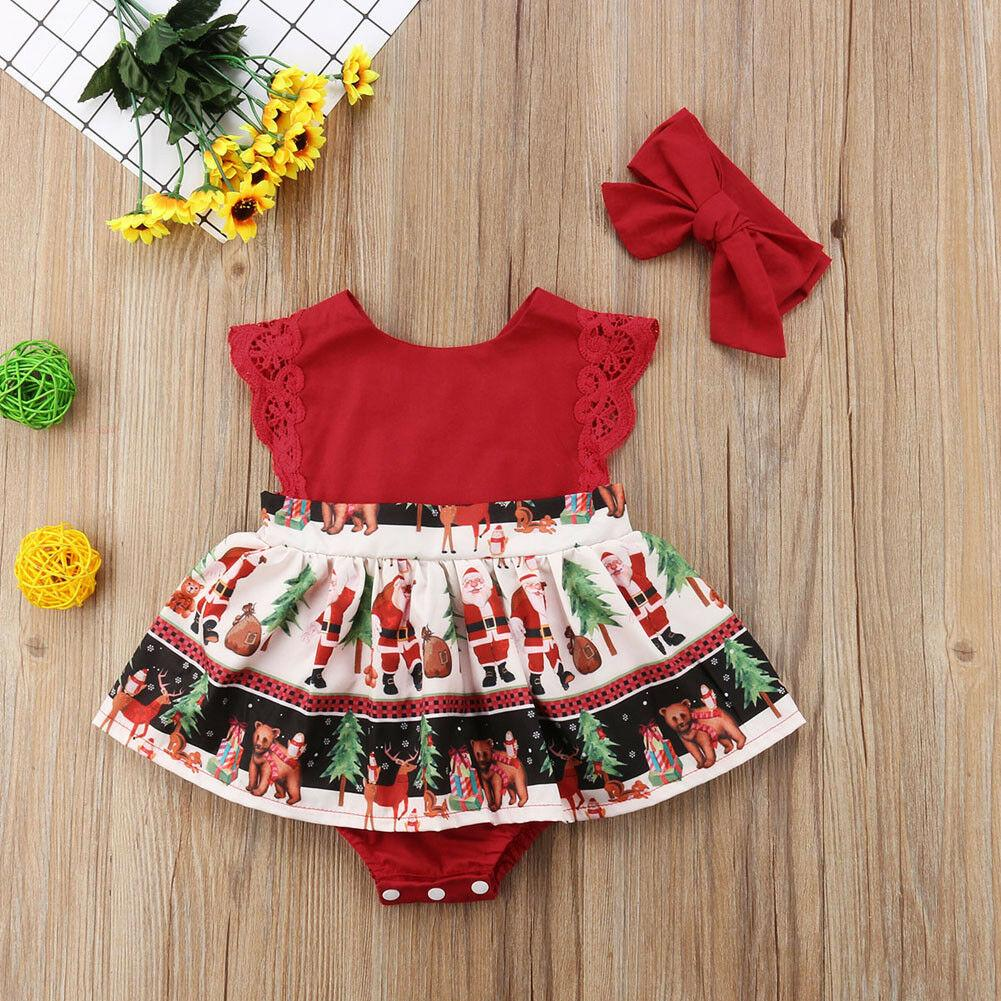 Newborn Baby Girls Lace Cartoon Print Party Romper Dress