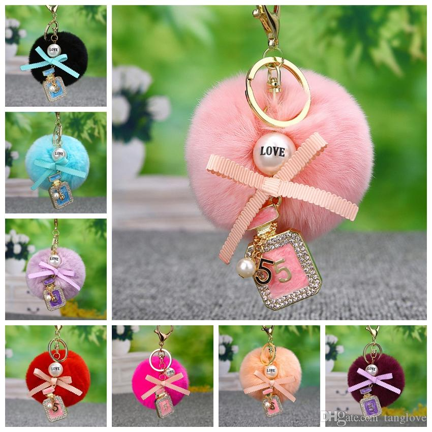 High quality New fashion Key Chain Accessories Love Pearl Number Perfume Bottle KeyRing For Women Girl Party Bag Car Keychains DIY Jewelry