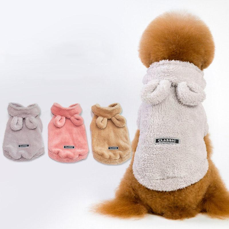 4ed820c79 2019 Cute Pet Dog Two Face Plush Coat Clothes Winter Warm Defensive ...