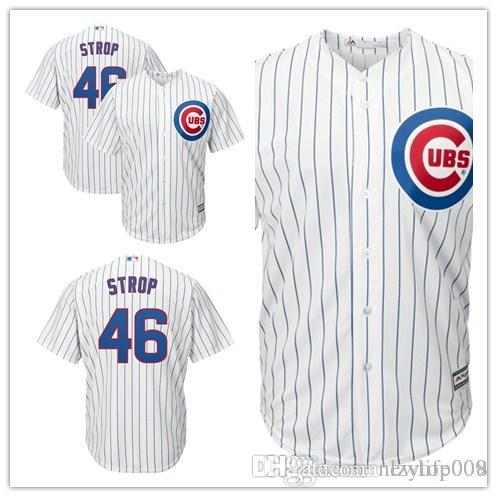 ace40873869 Custom 2019 Men s Cubs 46 Pedro Strop Chicago Home White Cool Base Replica  Player women kids Jersey