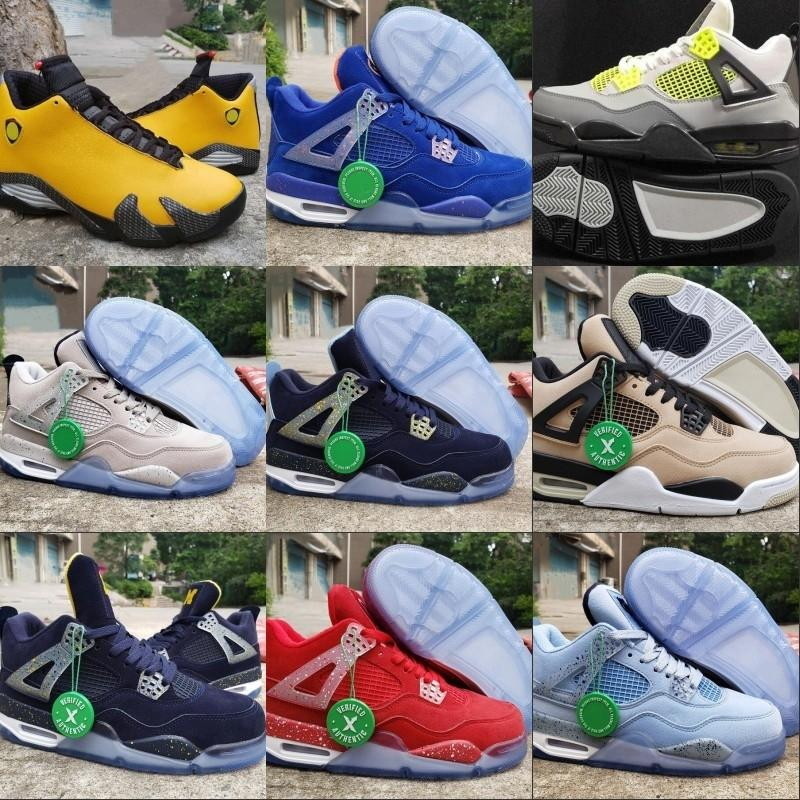 4 14 Hot Sale Michigan Dark Obsidian University Gold Black White Man Basketball Designer Shoes Yellow 1s Fashion Trainers Come With Box