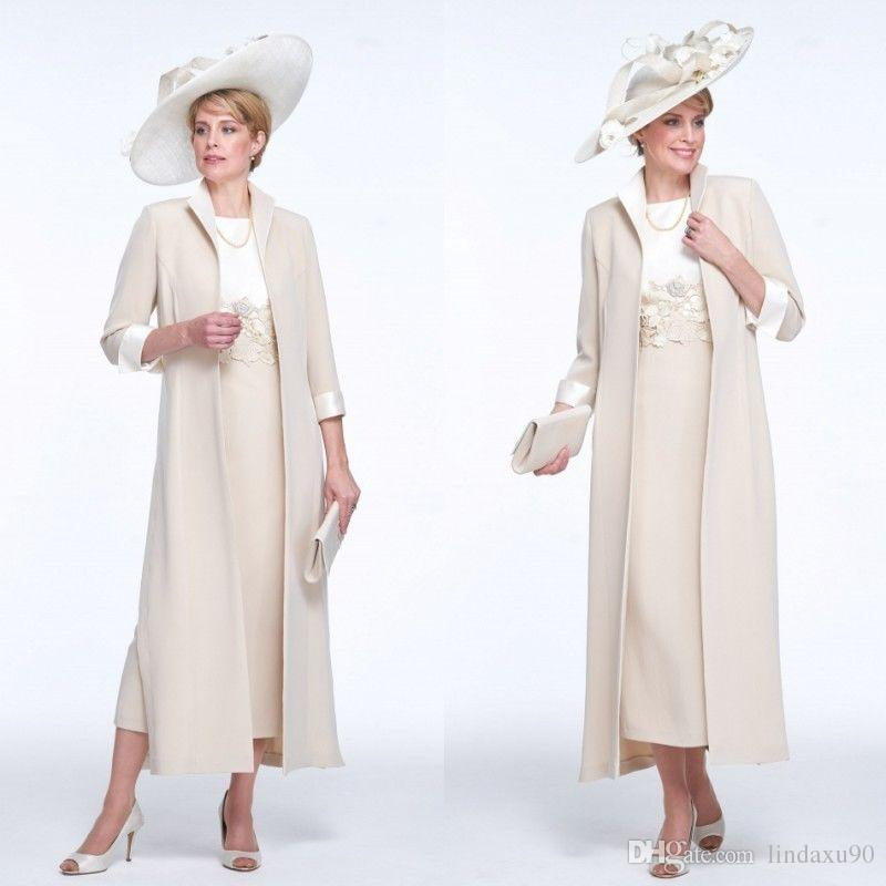 Cream 2019 Tea Length Mother Of The Bride Dress With Long Jacket ...
