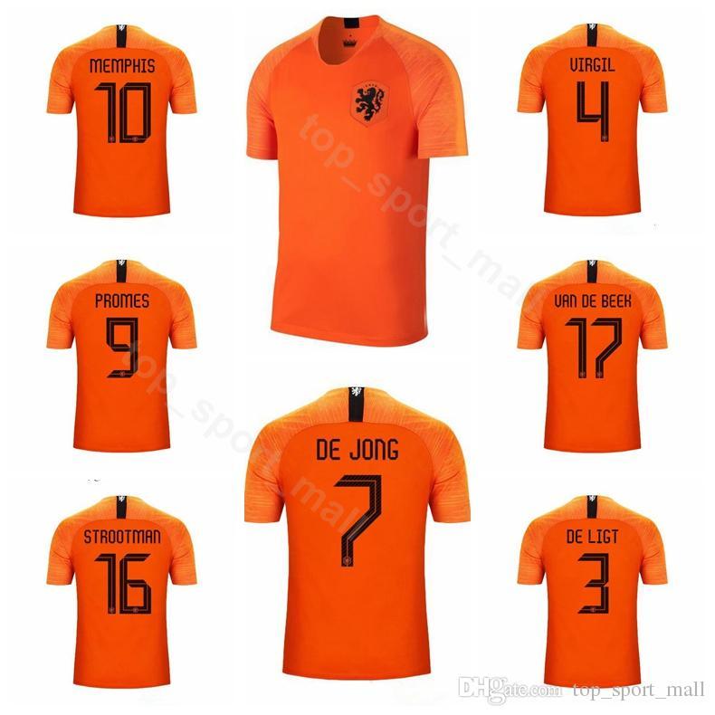 11a89e793e69a Compre 2019 2020 Holanda Futebol 7 DE JONG Jérsei 3 DE LUZ 9 PROMESSAS 16  STROOTMAN 17 VAN DE BEEK Camisa De Futebol Kits Uniforme De Top sport mall