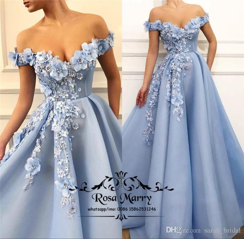 00588ae47f Princess 3D Floral Crystals Long Prom Dresses 2019 A Line Off Shoudler  Vintage Lace Light Blue Tulle Girls 2k19 Formal Evening Prom Gowns Black  And White ...