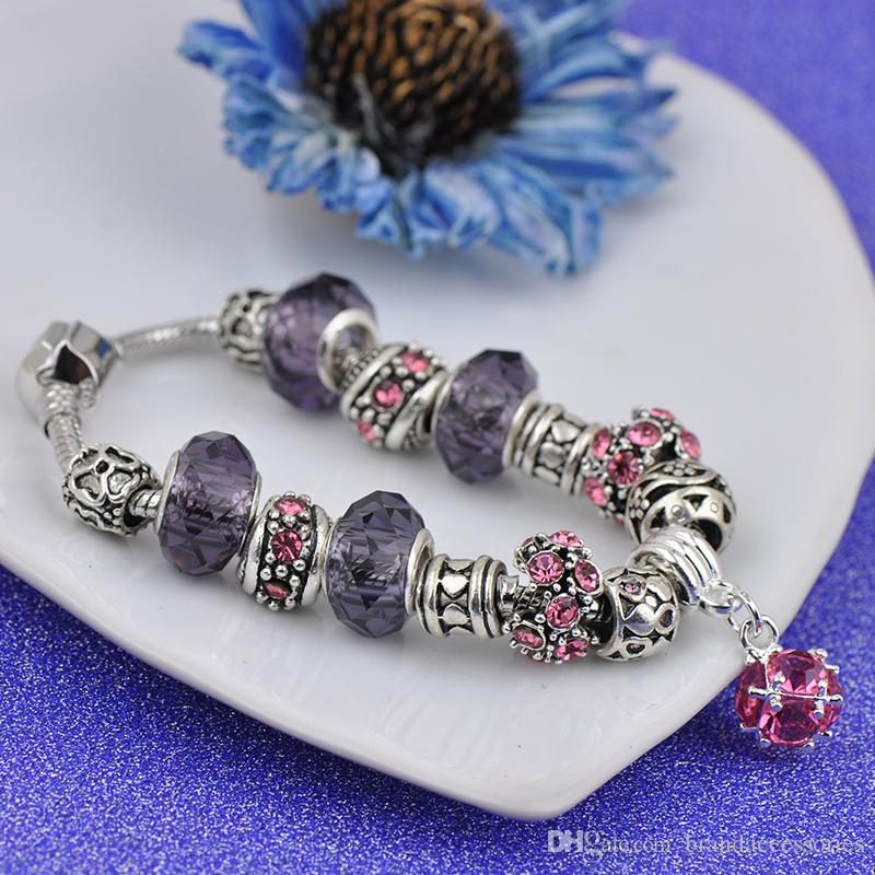 Fashion DIY Faceted Murano glass beads Charms Bracelets Fit Pandora Girls Rose Crystal Gemstone Pendant Bangle Jewelry gift Female P135