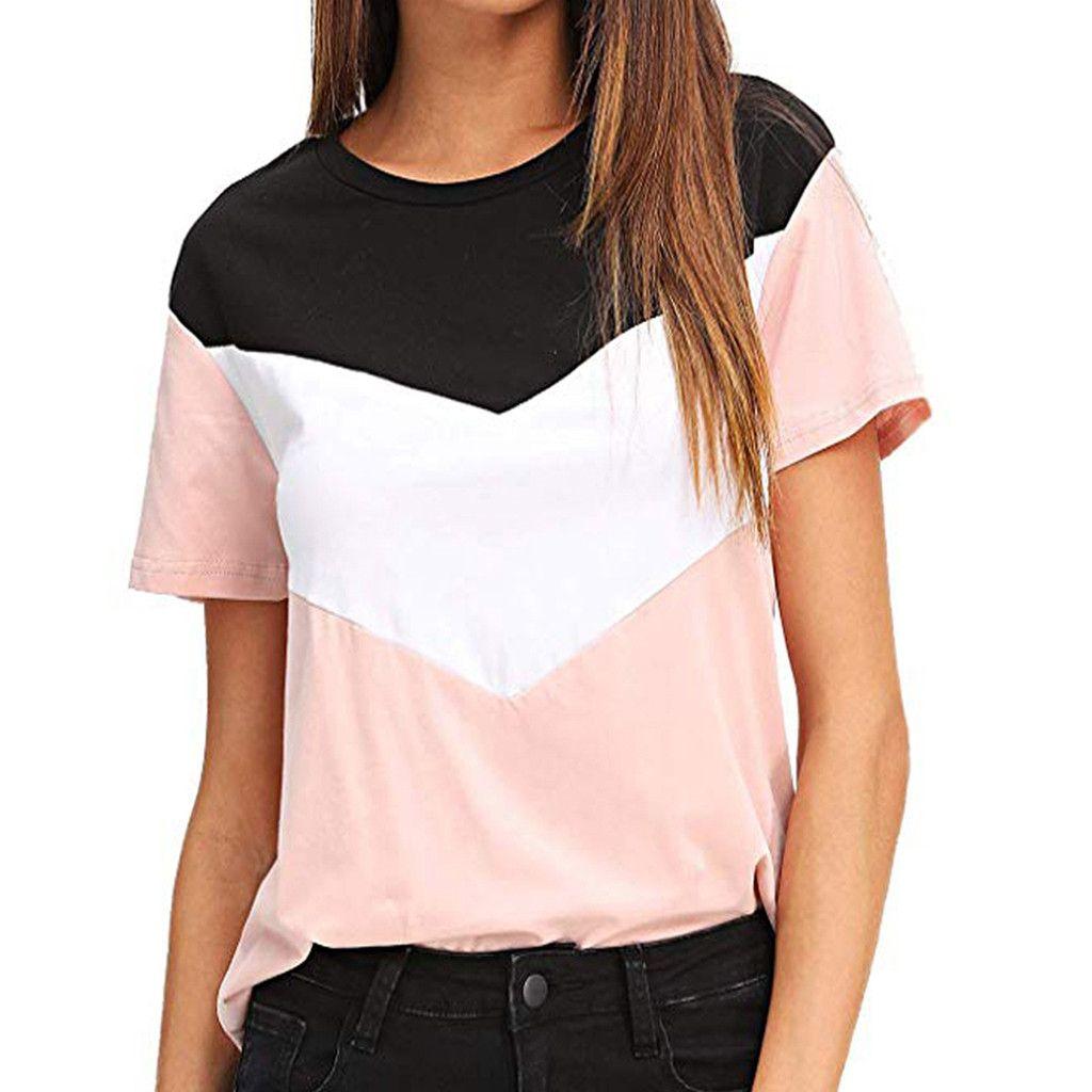 724a6fe2 Acheter Femmes Slim Fit Soft T Shirt Femme Été Filles Imprimer À Manches  Courtes O Cou Top Casult Sport Patchwork Top T Shirt Vêtements De $34.55 Du  ...