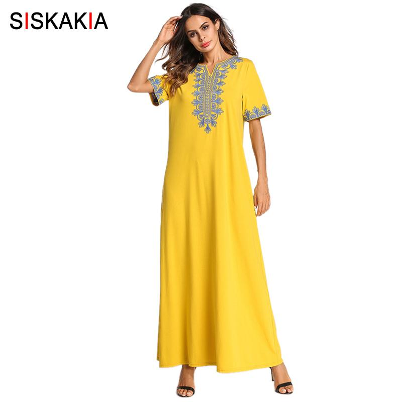 Siskakia Vintage Ethnic Embroidered Maxi Long Dress Brief Fashion Urban  Casual Ramadan Clothing Slim Plus Size Swing Dresses New Y190507