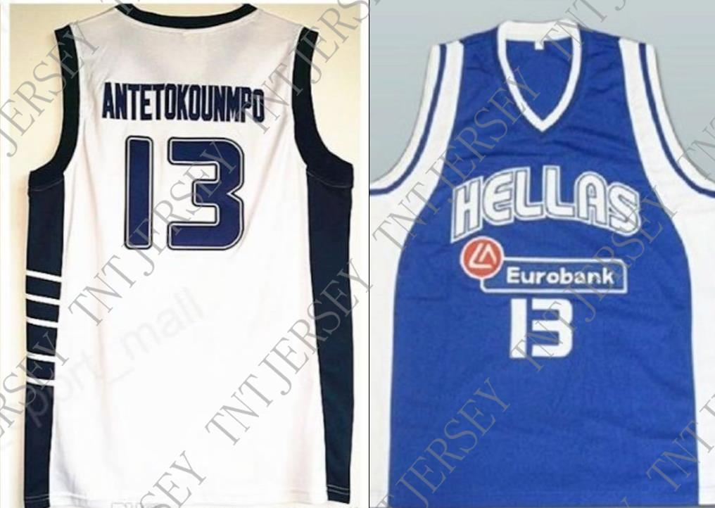 2019 Cheap Custom Giannis Antetokounmpo  13 Hellas Greece Basketball Jersey  White Blue Stitched Customize Any Name Number MEN WOMEN YOUTH JERSEY From  ... fe754393a
