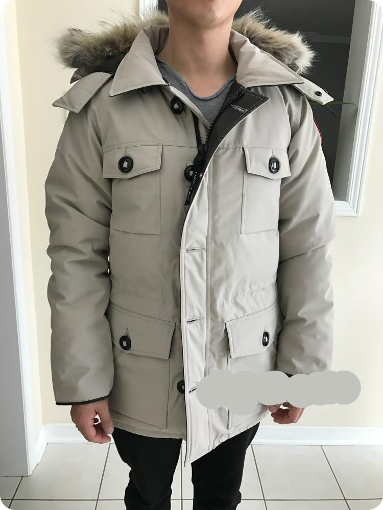 Men Parkas WINTER CANADA BANFF-1 GOOSE Down & Parkas WITH HOOD/Snowdome jacket Brand Real wolf fur Collar White Duck Outerwear & Coats