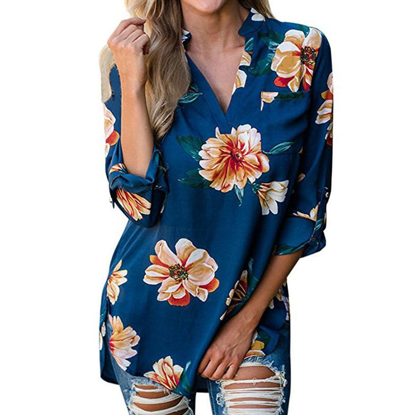bd1902acde481 2019 Floral Print Blouses Flower Autumn Blouses Casual V Neck Long Shirts  2019 Women Office Loose Top Oversized Femme Blusas GV955 From Jincaile03