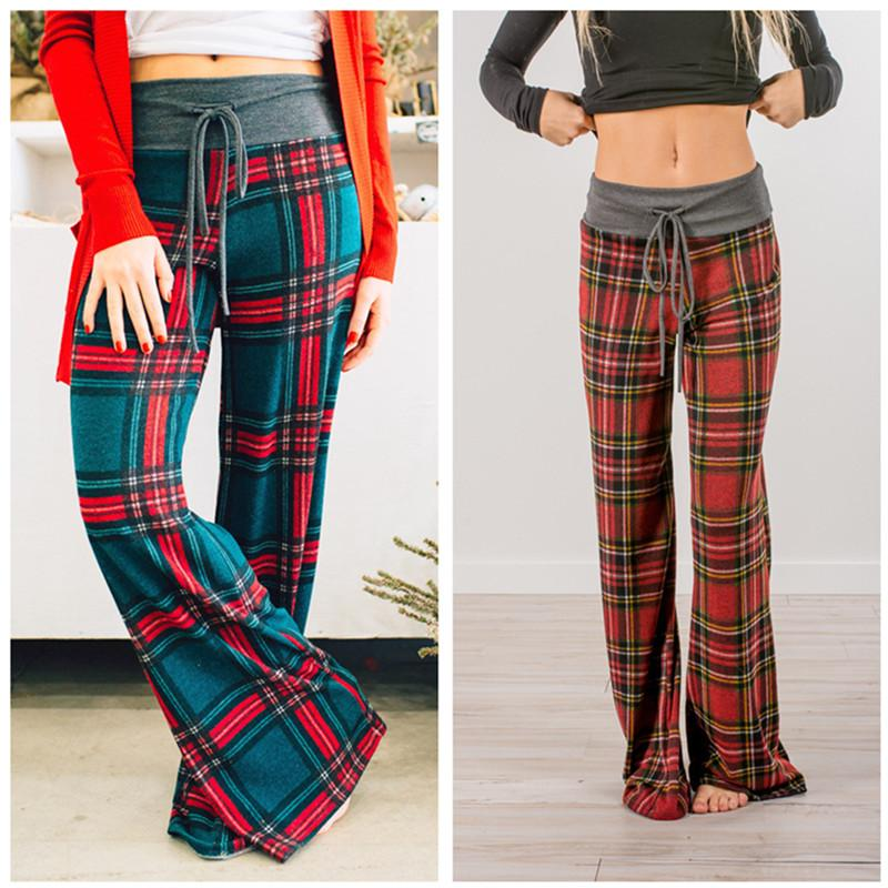 f0efe42ff02 2019 Women Plaid Loose Pants Fashion Baggy Pants Wide Leg Trousers  Drawstring Long Straight Grid Trousers Printed Checked Slacks Sweatpants  Girls From ...