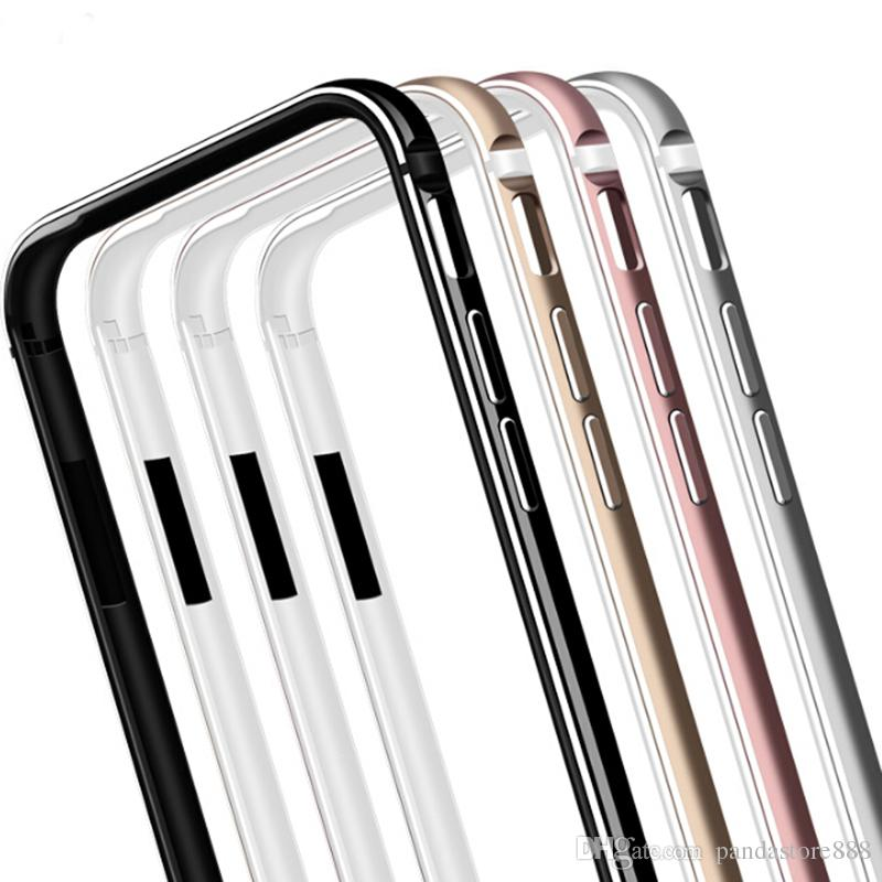 Metal Bumper for iPhone X/XR/XS Max Shockproof Silicone TPU Aluminum Hybrid Bumper Frame Case for iPhone 6/6S/7/8 Plus