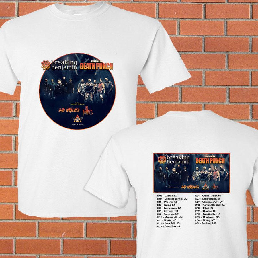 Breaking Benjamin & 5 Finger Death Punch fall tour concert 2018 white tee  S-3XL summer Hot Sale New Tee Print Men T-Shirt Top