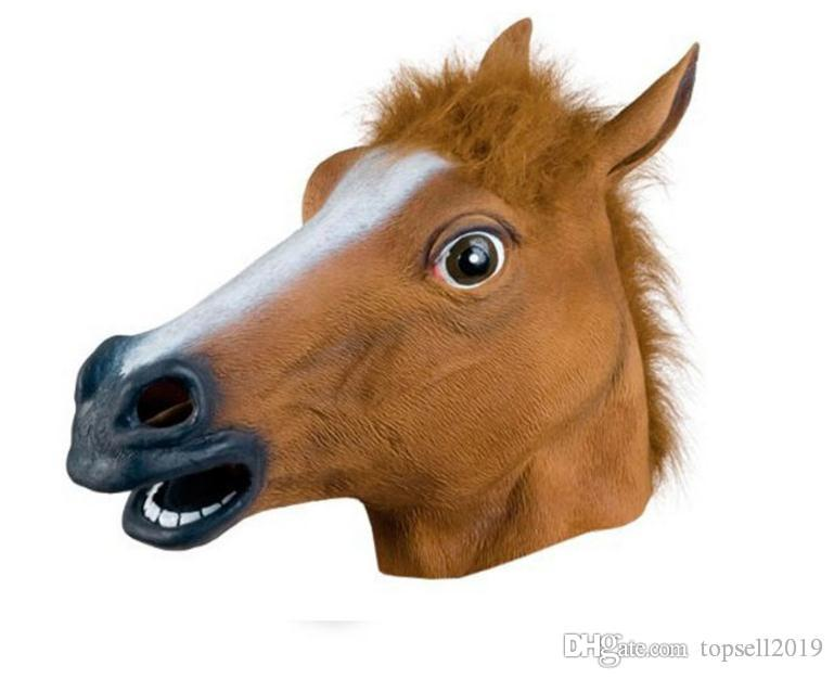 Brown Latex Rubber Full Face Mask Creepy Horse Head Shape Masquerade Masks For Halloween Costume Theater Props SN1492