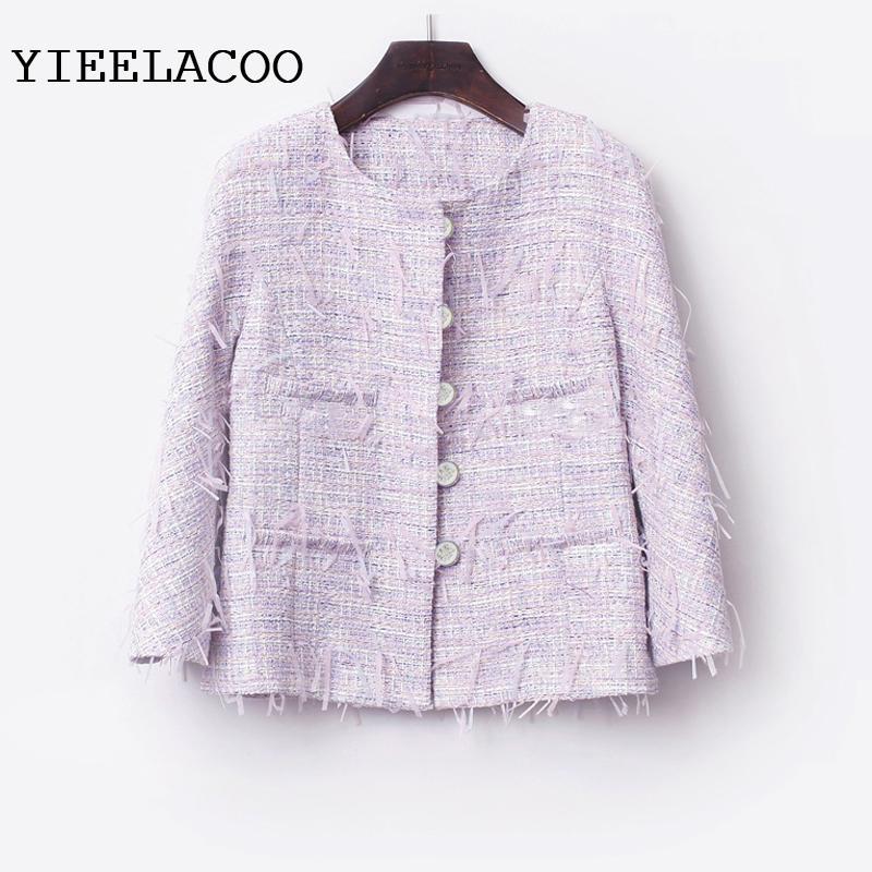 8b4ca8350374 Jacket Women Light Purple Tweed Jacket One Piece Spring   Autumn ...