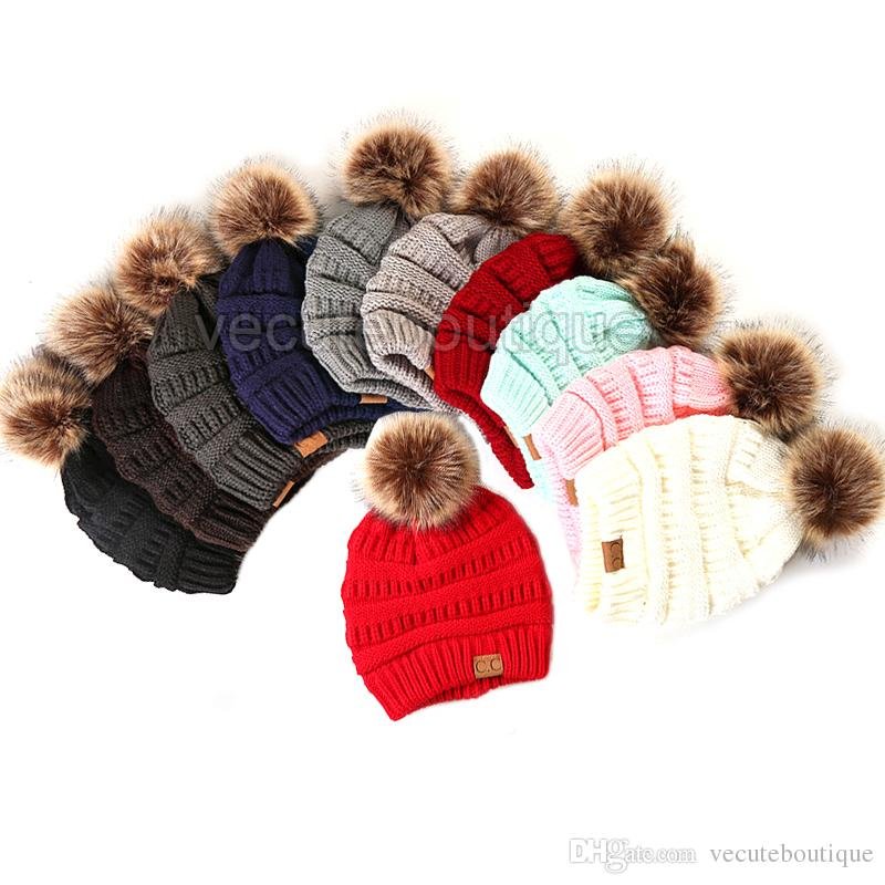 84c3949bb51258 Large Ball Winter Wool Warm Women Knitted CC Hat Fur Pom Poms Crochet Beanie  Ski Cap Bobble Fleece Cable Slouchy Skull Hat Caps Newborn Hats Knit Beanie  ...