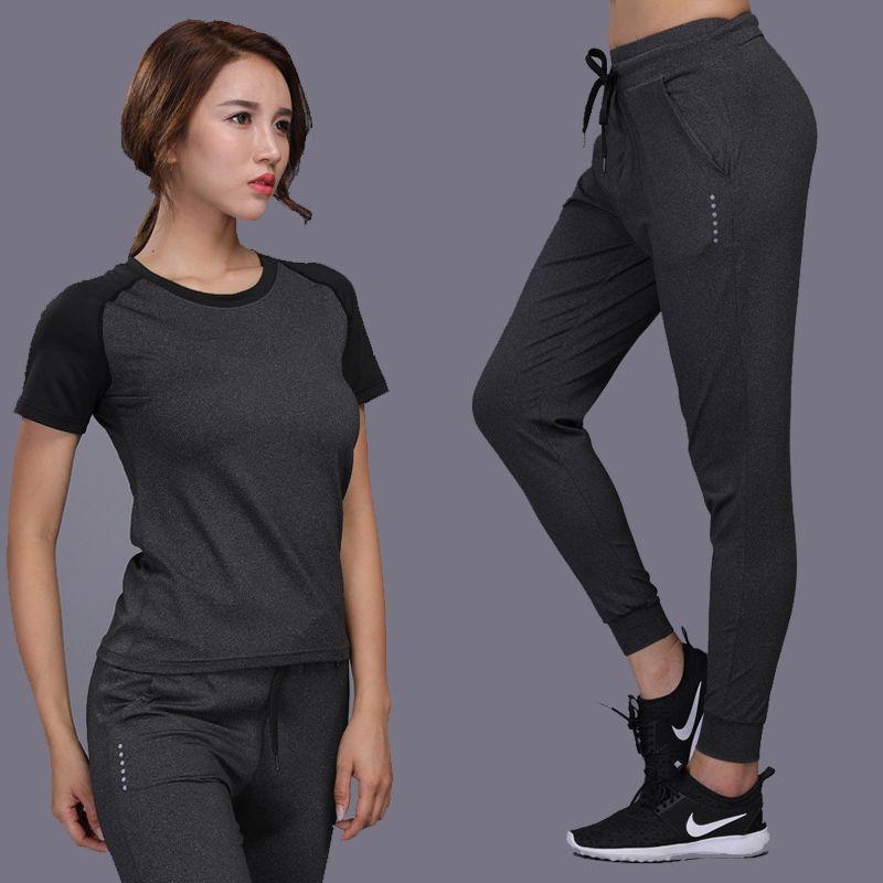 deb3c364e32 2019 Quick Dry Women Running Pants Yoga Sets Clothing Jogging Loose  Training Trousers Harem Sportswear Sport Suit Female Plus Size From  Kangshifuwat